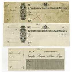 Punjab Banking Co. Ltd. 19xx (ca.1910's). Trio of Waterlow & Sons Proof Checks.