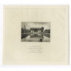 "National Bank of Persia, ND (ca.1921) Proof Vignette of ""40 Pillars Palace""."