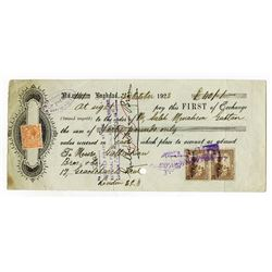 National Provincial Bank of England (Baghdad, Iraq). 1923. Issued First of Exchange.