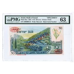 Bank of Israel, 1955 / 5715 Specimen Banknote