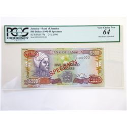 Bank of Jamaica, 1996 Specimen Banknote.