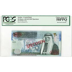 Central Bank of Jordan. 2002. Specimen Banknote.