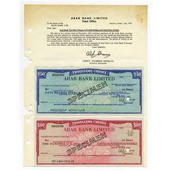 Arab Bank Limited. 1967.  Pair of Specimen Traveler's Cheques.