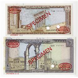 Banque du Liban. 1971-1972. Pair of Specimen Notes.