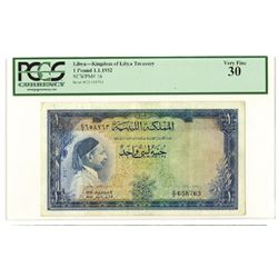 Kingdom of Libya Treasury. 1952 // AH1371. Issued Banknote.