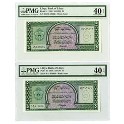Bank of Libya. 1963 // AH1382. Pair of Sequential Issued Notes.