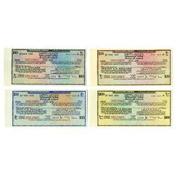 Bank of Libya, c. 1970s, Quartet of Traveler's Cheque Specimens