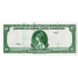 """American Bank Note, 1929 (ca.1970-80's) Specimen Ad Note with """"Tiger Head"""" Watermark at right."""
