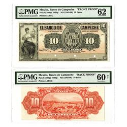 Banco de Campeche, ND (1903-06) Face & Back Proof Pair