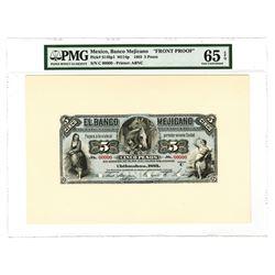 Banco Mejicano, 1883, 5 Pesos Face Proof