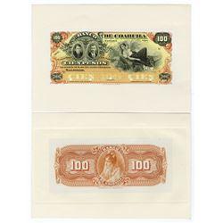 Banco De Coahuila, ND (1898-1914) Proof Face and Back Banknotes.