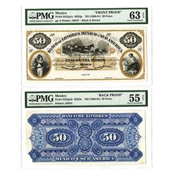 Banco de Londres Mexico y Sud America, ca. 1868-81 Issue Proof Face and Back.