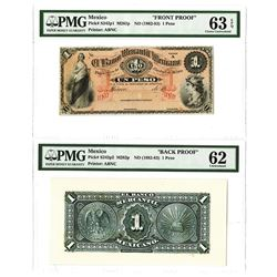 Banco Mercantil Mexicano, ND (1882-83) Face & Back Proof Pair