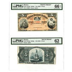 Banco Mercantil Mexicano, ND (1882) Face & Back Proof Pair