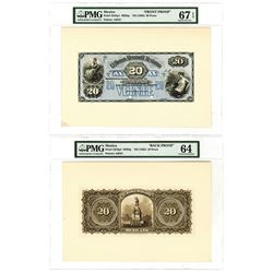 Banco Mercantil Mexicano, ND (1882) 20 Pesos Face and Back Proof Pair.