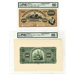Banco Mercantil Mexicano, ND (1882) 100 Pesos Face and Back Proof Pair.