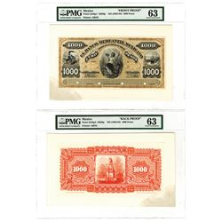 Banco Mercantil Mexicano, ND (1882-84) 1000 Pesos Face and Back Proof Pair.