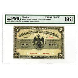 Banco Nacional Mexicano, ND (1882) Issue 5 Pesos Obverse Proof