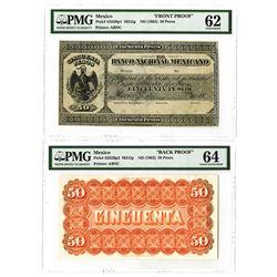 Banco Nacional Mexicano, ND (1882) Issue 50 Pesos Obverse & Reverse Proof