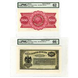Banco Nacional Mexicano, ND (1882) 500 Pesos Face and Back Proof Pair.