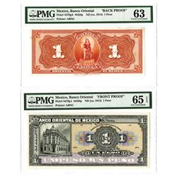 Banco Oriental De Mexico, ND (ca.1914) 1 Peso Face and Back Proof Pair.