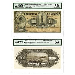 Banco Occidental de Mexico ND (ca. 1900) 1000 Pesos Face and Back Proof Pair.