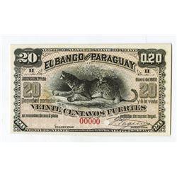 El Banco Del Paraguay 1882 Front Specimen.