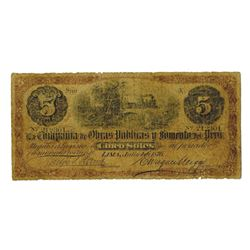 La Compania de Obras Publicas y Fumento del Peru, 1876 Issued Banknote.