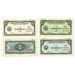 Central Bank of the Philippines, 1949 (1951) Color Trial Essay Specimen/Proof Banknote Quartet.