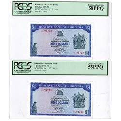 Reserve Bank of Rhodesia. 1970. Pair of Sequential Issued Notes.