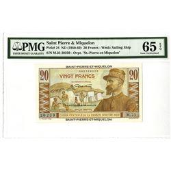 Saint Pierre & Miquelon, Caisses Centrale De La France D'Outre-Mer 1950-60 Issued Banknote.
