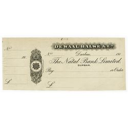 De Waal, Balwe & Co. 191x (ca.1910's). Waterlow & Sons Proof Check.