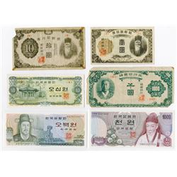 Bank of Korea & Others. 1940s-1980s. 6 Issued Banknotes.