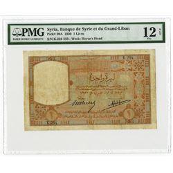 Banque de Syrie et du Grand-Liban. 1930. Issued Note.