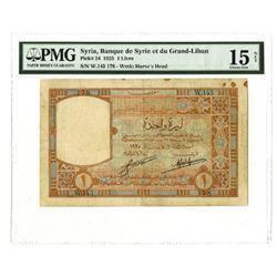 Banque de Syrie et du Grand-Liban. 1925. Issued Note.