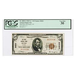 Reno, NV, 1929, $5 Ty. 1, The Reno National Bank, Reno, Ch# 8424, Fr#1800-1.
