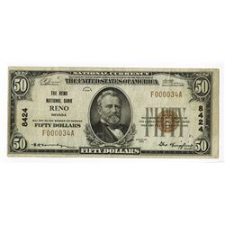 Reno, NV - The Reno National Bank, $50 Ty. 1, Ch# 8424, Fr#1803-1.