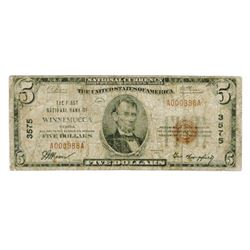 Winnemucca, NV. 1929, $5 Ty. 1, The First NB of Winnemucca, Ch# 3575, Fr#1800-1.