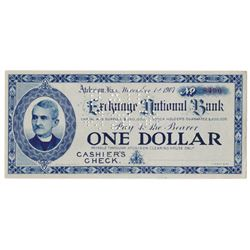 Exchange National Bank, 1907 Cashier's Check Panic Currency.