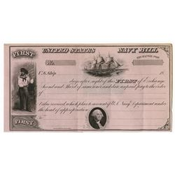 United States Navy Bill, 1850-60's Unissued First of Exchange.