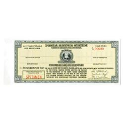 Postal Savings System, 1911 Specimen Certificate of Deposit