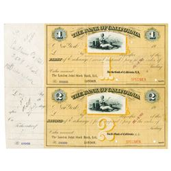 Bank of California 1913 Specimen Bill of Exchange Pair Used as Models with Corrections.
