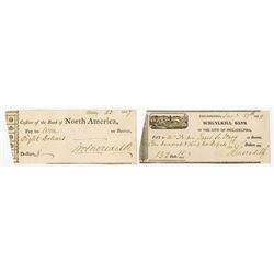 Lot of 2 Classic Checks, 1807 Bank of North America and 1829 Schuylkill Bank Signed by William Merid