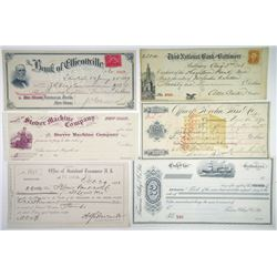 Lot of 15 different Issued and Unissued Checks from Mid-West to East Coast.