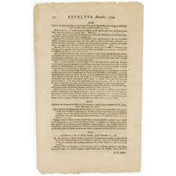 Resolves of the General Assembly of the State of Massachusetts Bay, Dec. 25th, 1779 Single Leaf.