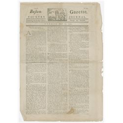 Boston Gazette and Country Journal, March 12, 1770, 4 Page Newspaper.