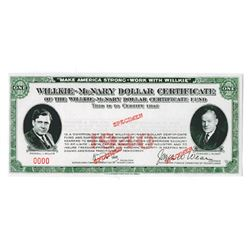 Wilkie-McNary Dollar Certificate, 1940 Specimen Contribution Certificate.