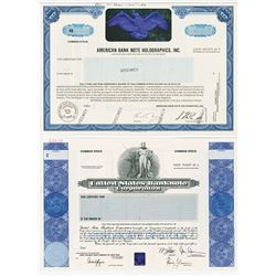 Pair of Holographic Specimen Stock Certificates, 1985-2004