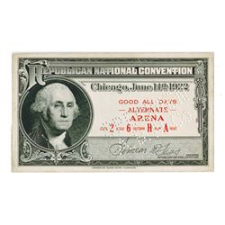 Republican National Convention, 1932 Specimen Convention Pass.