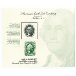ABNC Souvenir Cards, Portrait of George Washington used on 10 Cent U.S. Postage Stamp reproduction w
